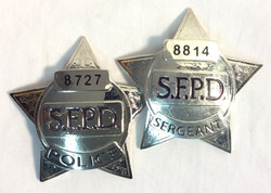SFPD Silver Star Chest Badges