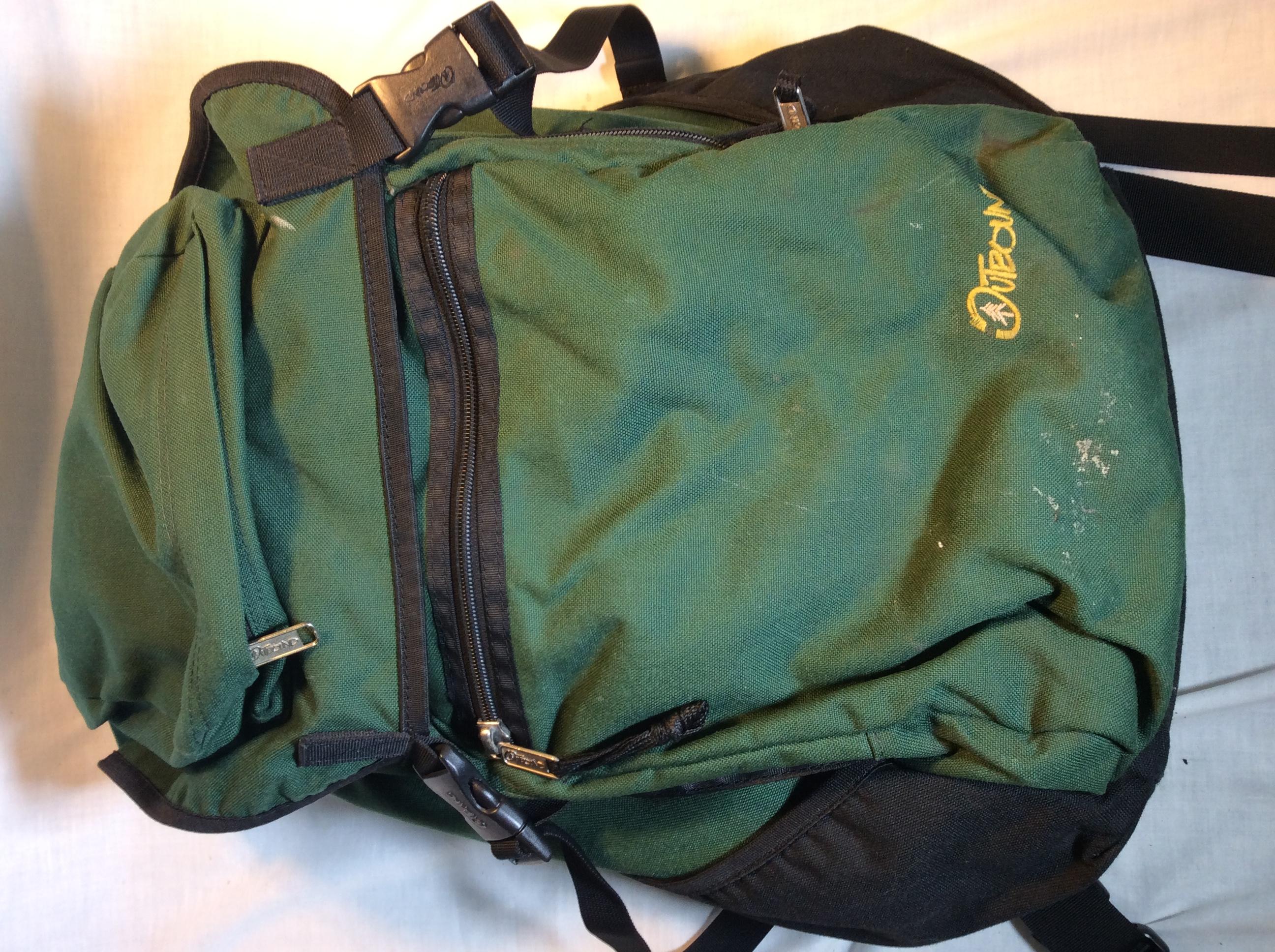 Outbound dark green backpack