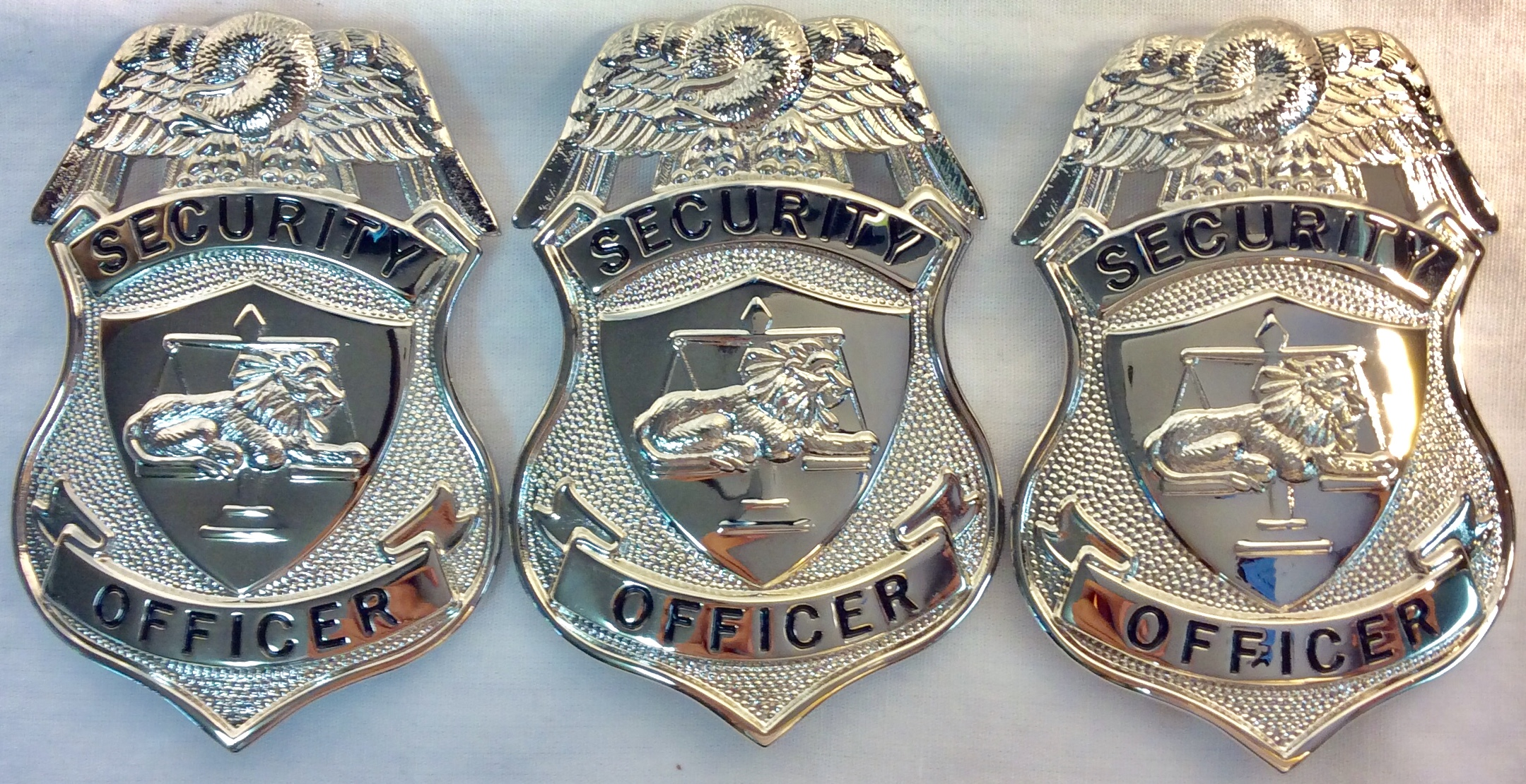 """Silver metal chest badges with eagle """"Security Officer"""""""