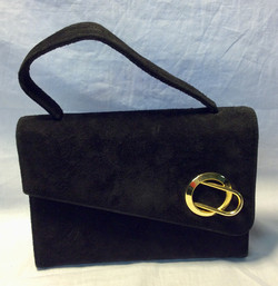 Black suede purse with gold metal