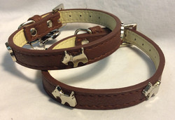 Dog collar brown letter with dogs metal details