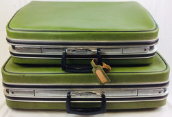 Jetliner Green leather with metal luggage - 2 piece set of luggage