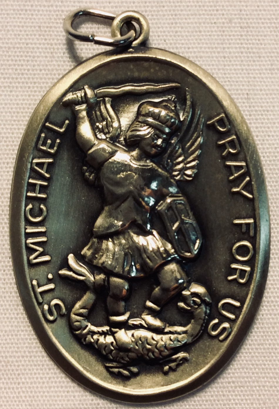Large oval Saint Michael Pray For Us