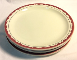 Vintage Diner round plates, red waves with black ring x4