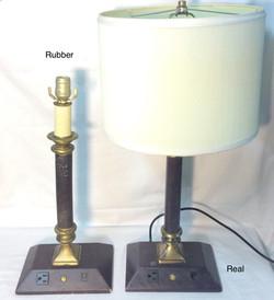 Hotel Room lamp, burgundy with cream