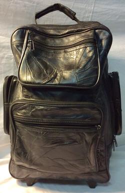 Black leather rolling bag