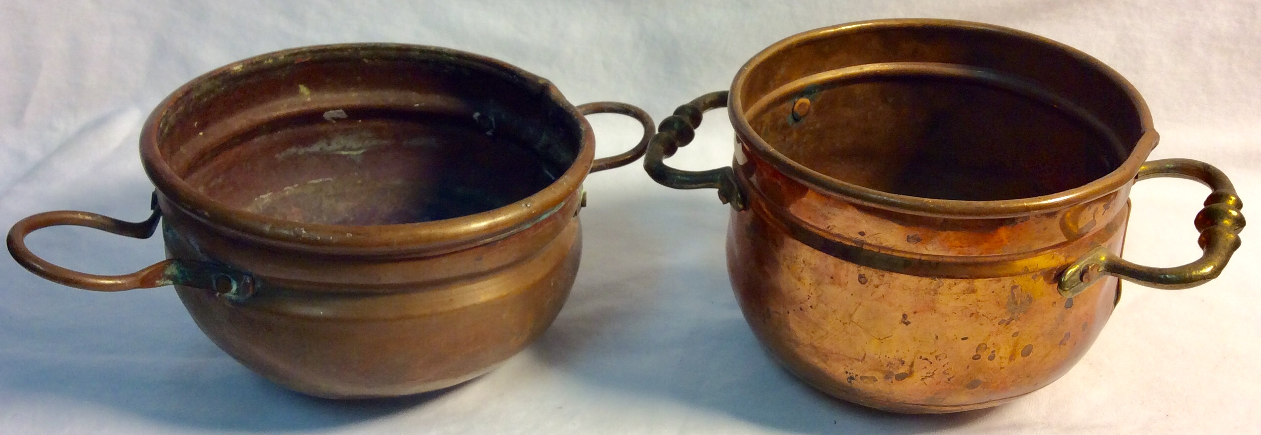 Aged copper small brass pots