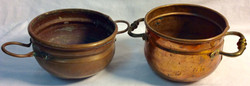 Aged copper small brass pots