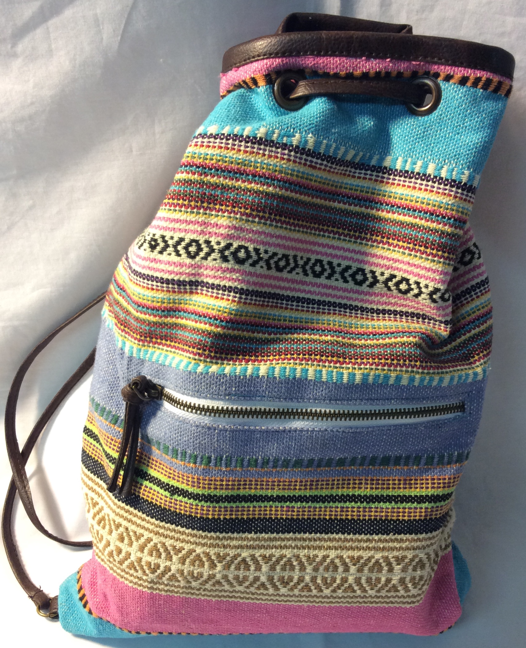 Multi-coloured woven drawstring back