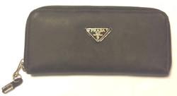 Prada black fabric wallet with black