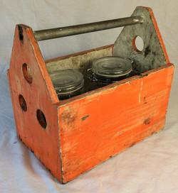 Vintage wooden tool box, orange