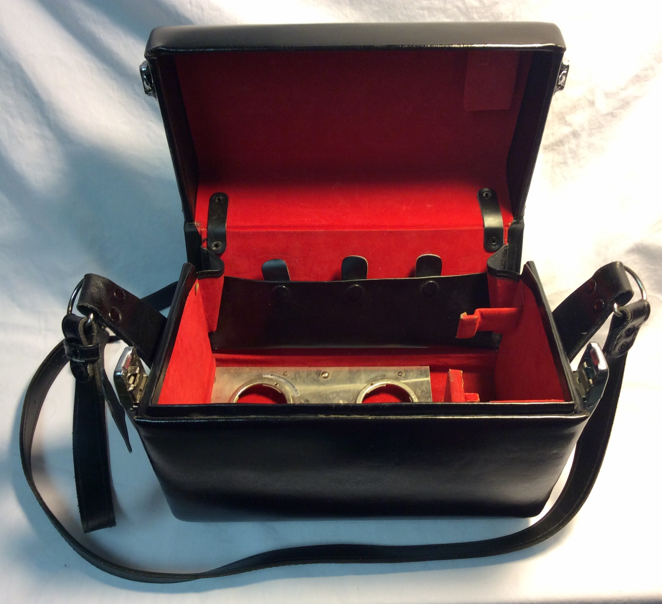 Vintage black leather camera bag
