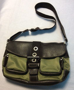 Small olive green and brown leather
