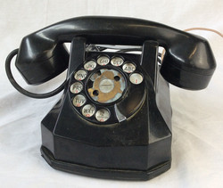 Black rotary dial home phone