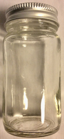 Clear glass jars with silver lids
