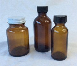 Small brown glass medical pill bottles