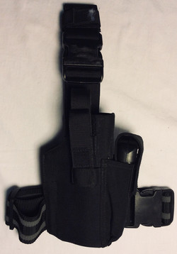 Black nylon drop down leg holsters