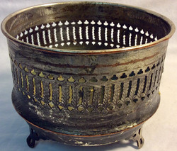 Aged silver small brass pot with cut details