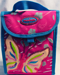 Tracker Thermal bag for food and small case inside. Pink and blue with sequin details