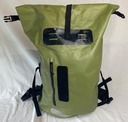 Green waterproof foldable top backpack, large