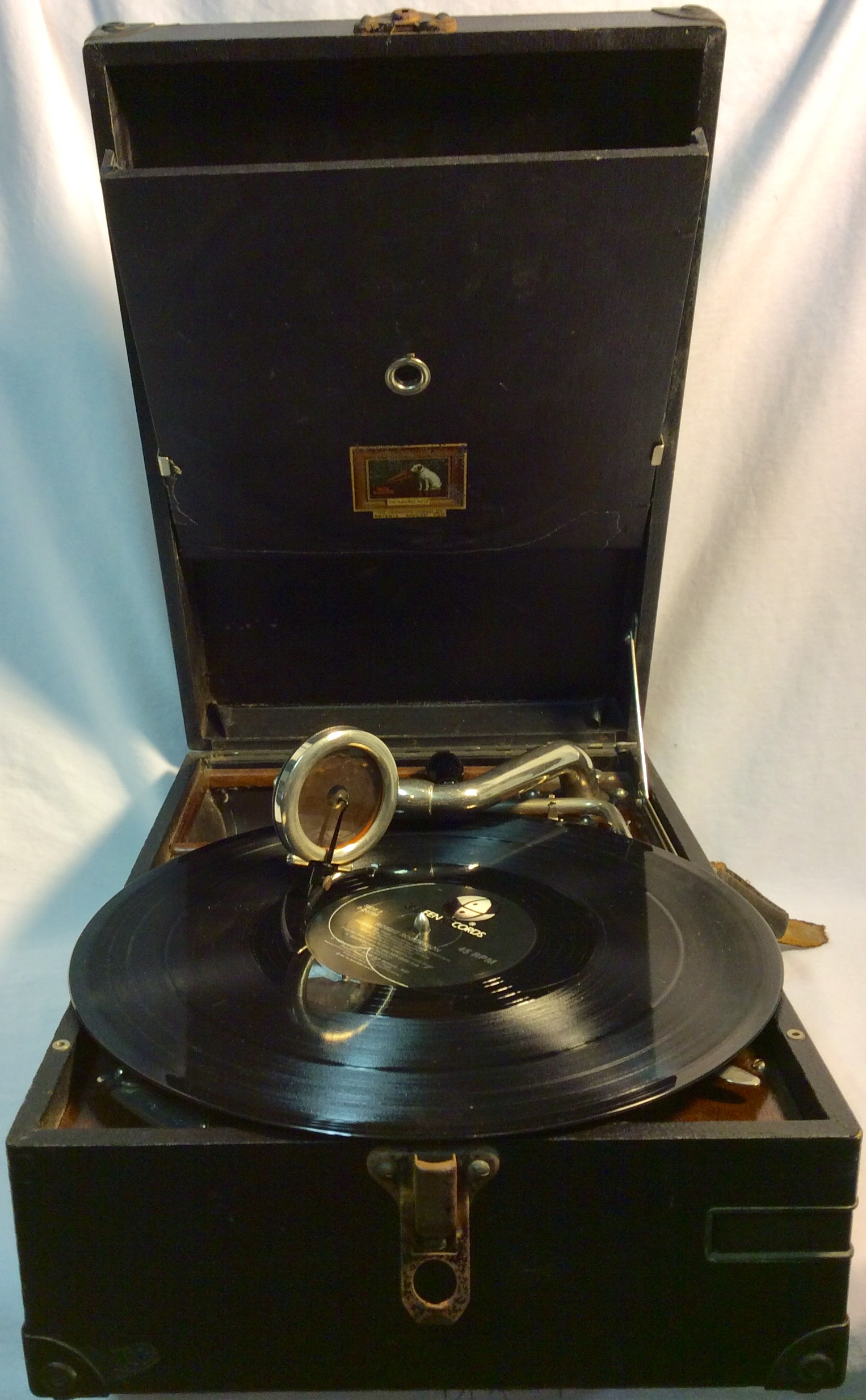 Record player with wooden case
