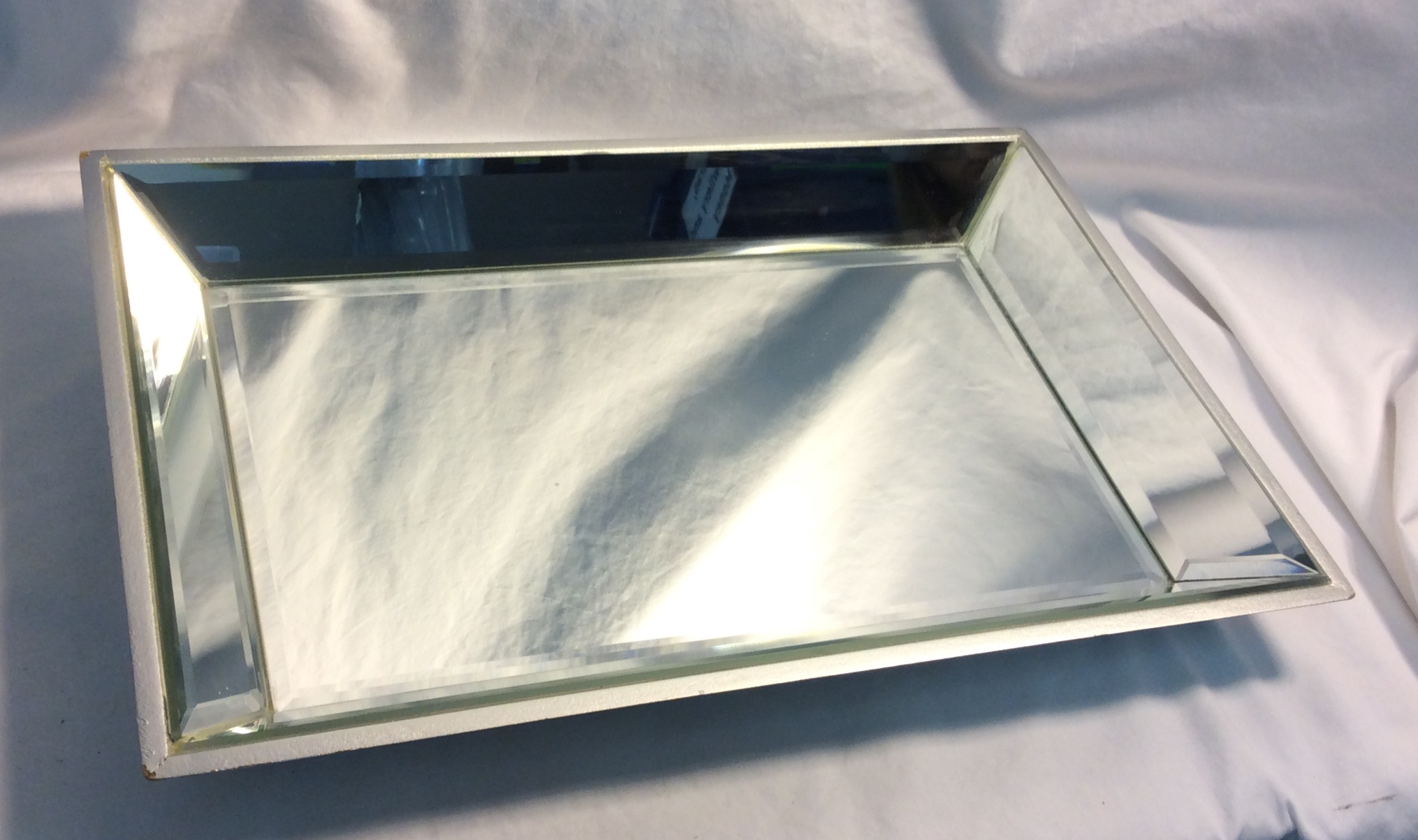 Mirrored Tray, rectangular with sloped sides