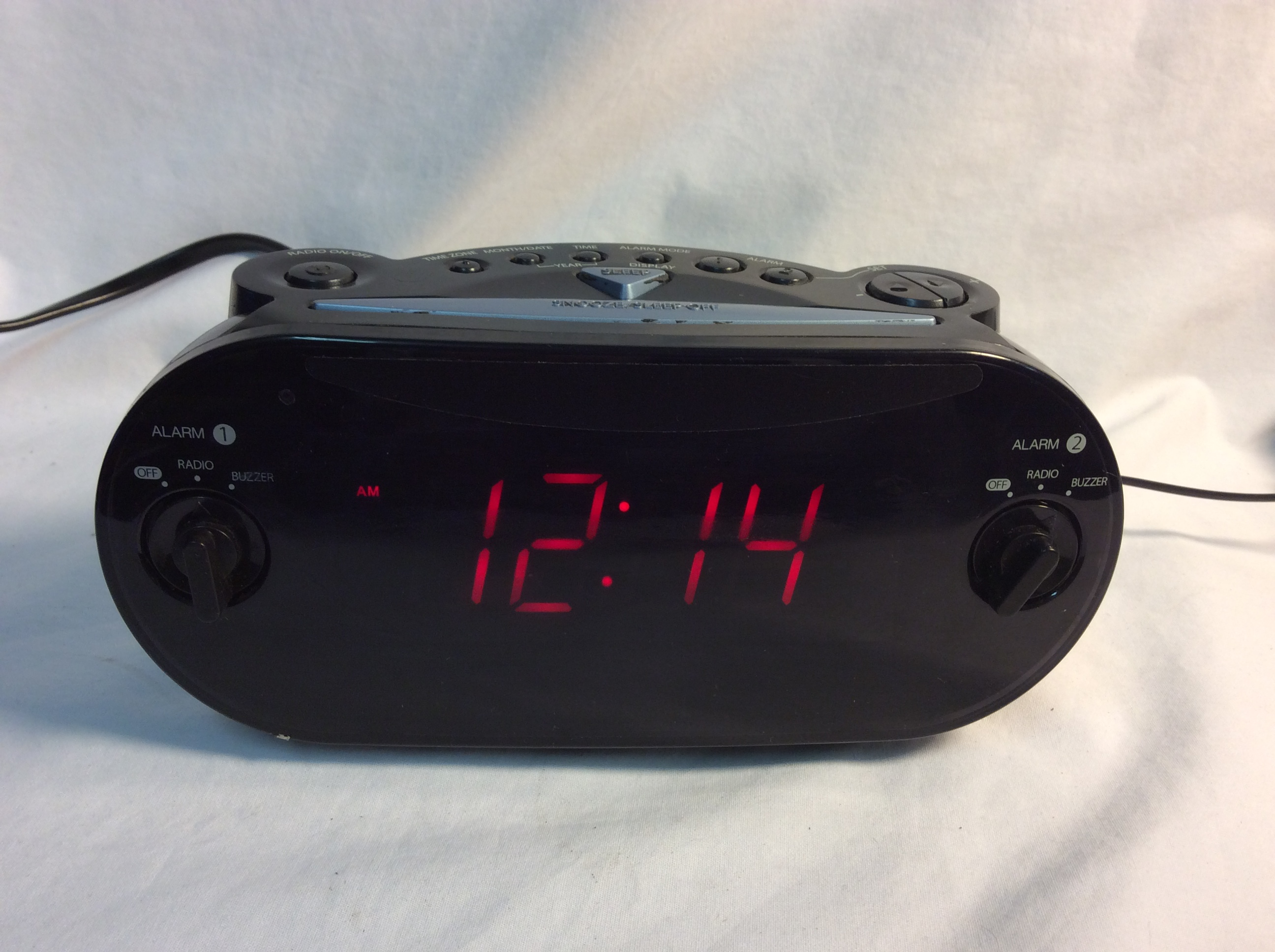 Rigged digital alarm clock