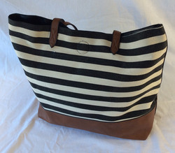 Black and white striped large purse or beach bag