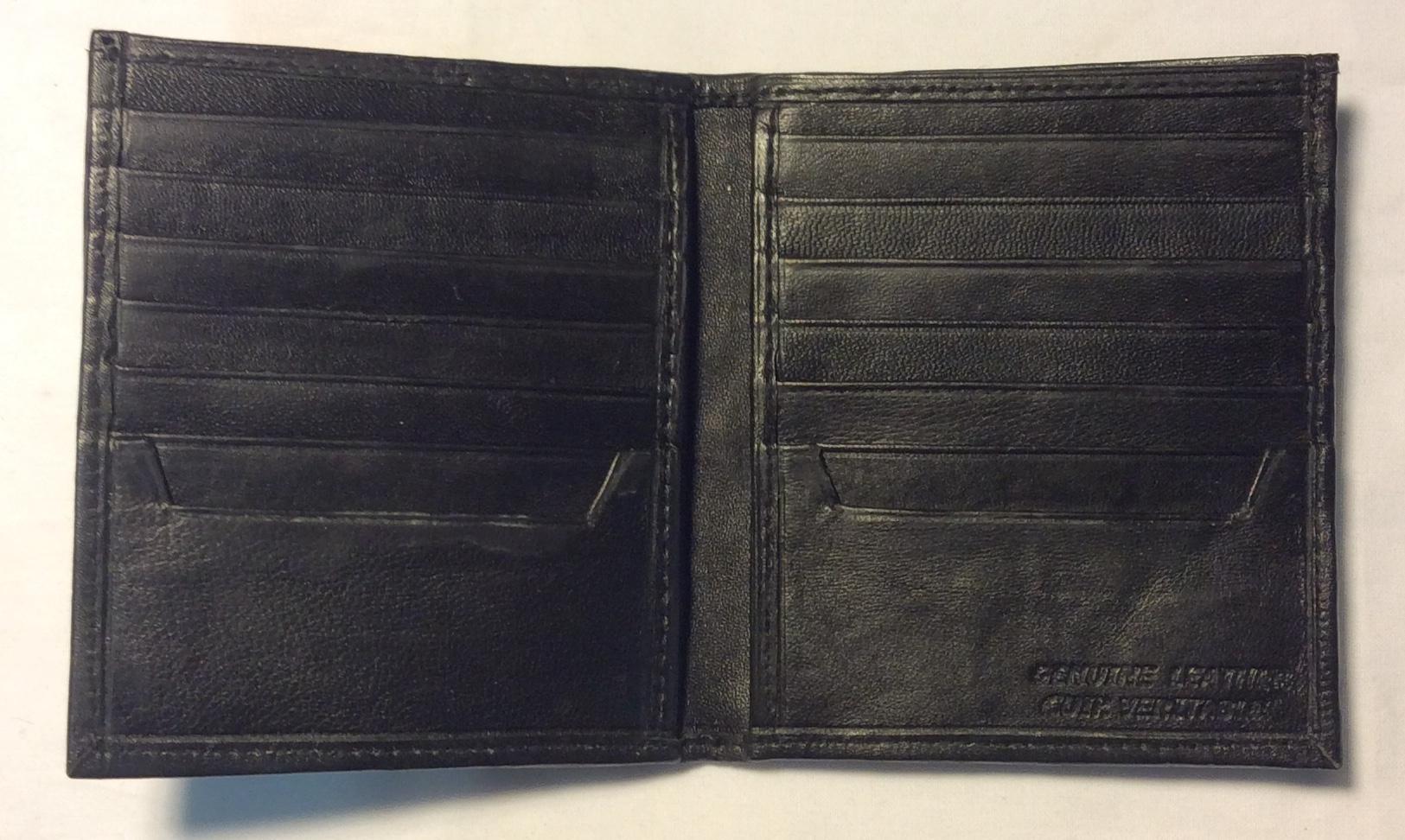 Black leather vertical wallet