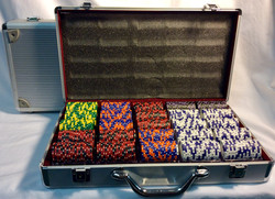 Jackpot Poker chips set with silver briefcase
