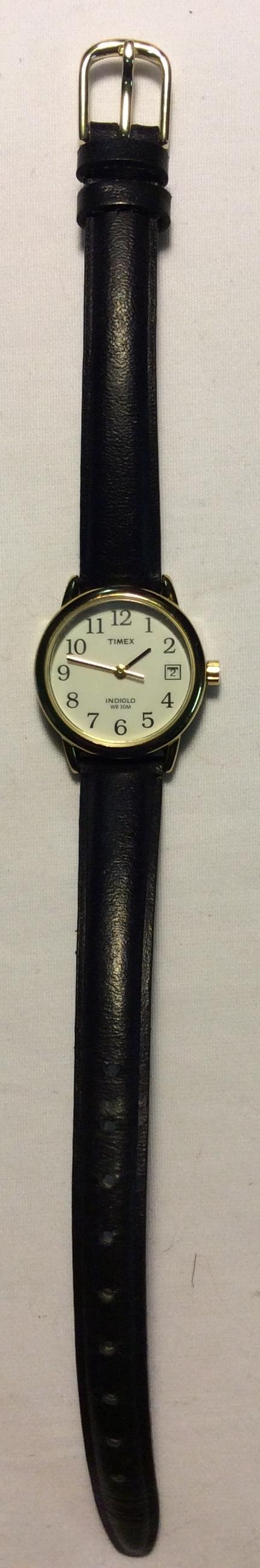 Timex watch - round white face, gold