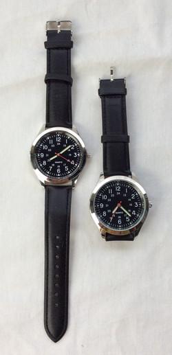 Precision Quarts silver and blac watch w/ black leather strap