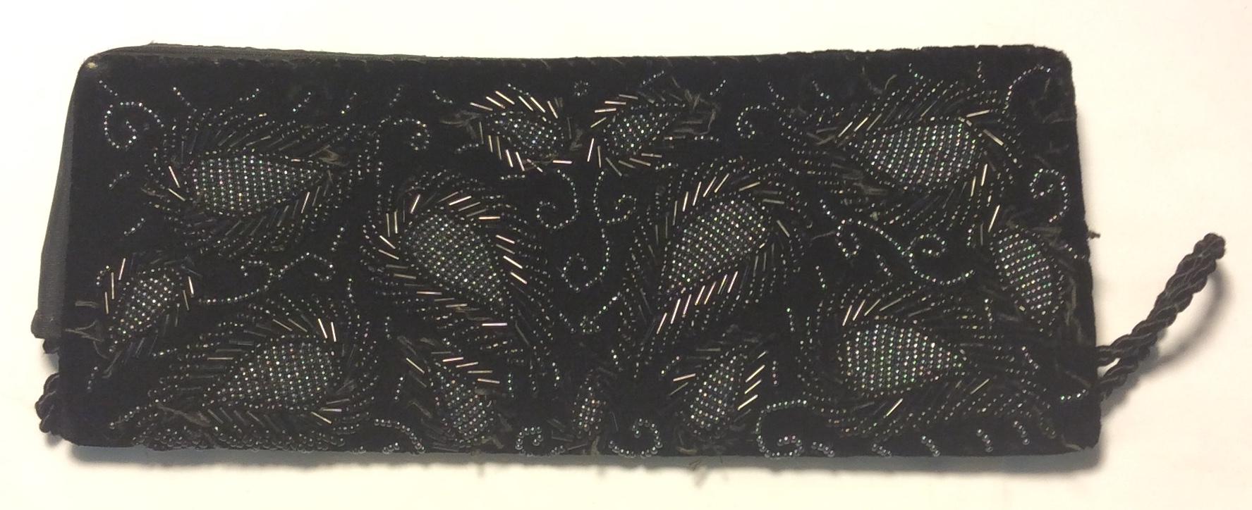Black velvet beaded clutch