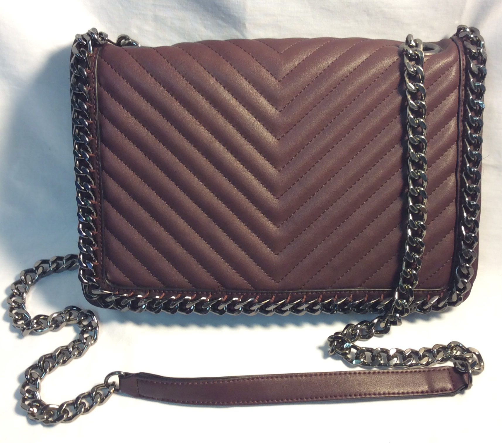 Burgunday padded pleather with chain