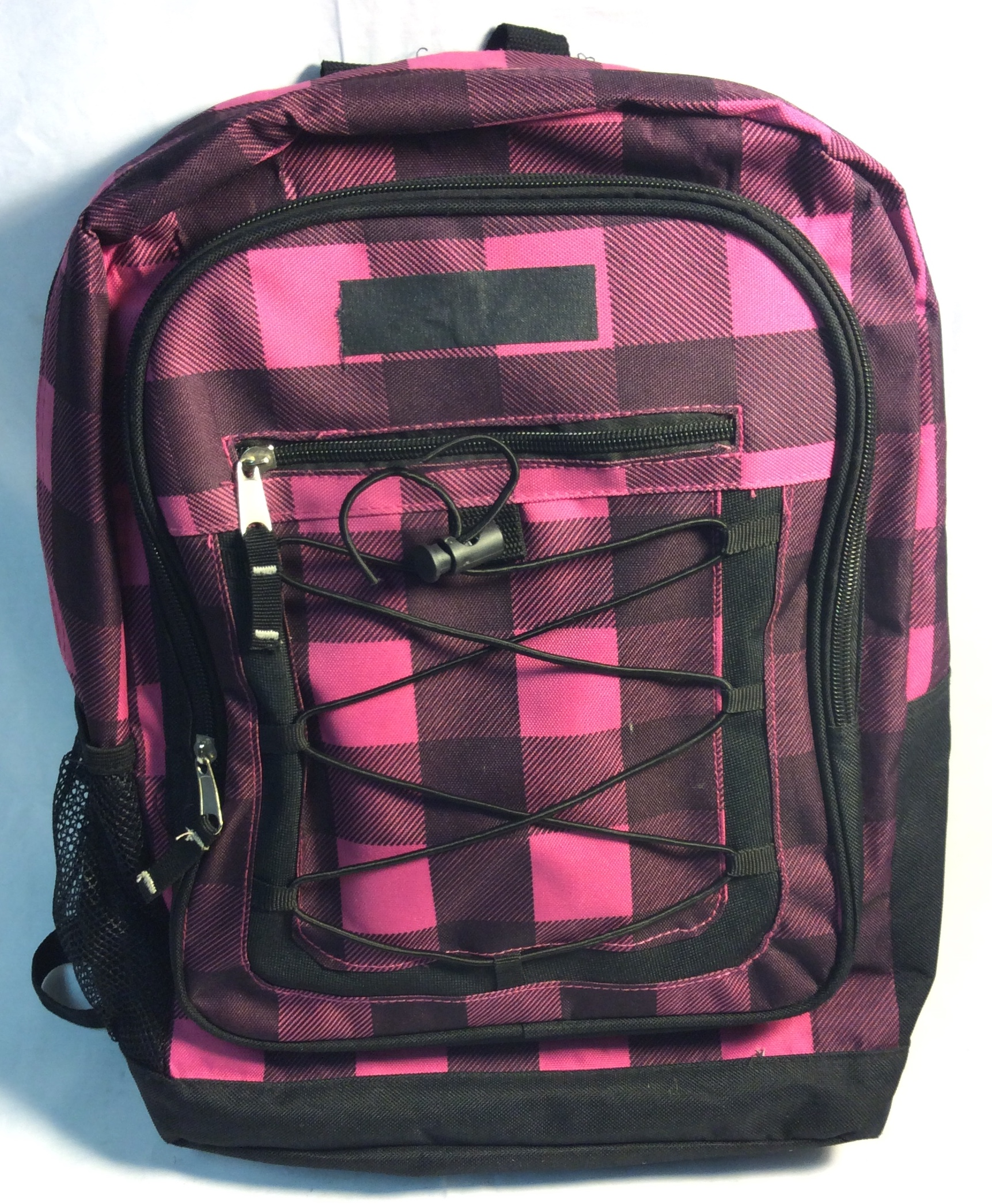 Pink and Black Checkered backpack