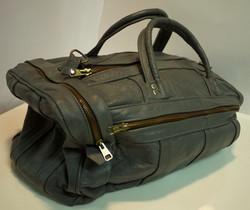 Grey leather travel bag