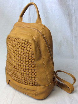 Yellow pleather backpack with weave pattern on front.
