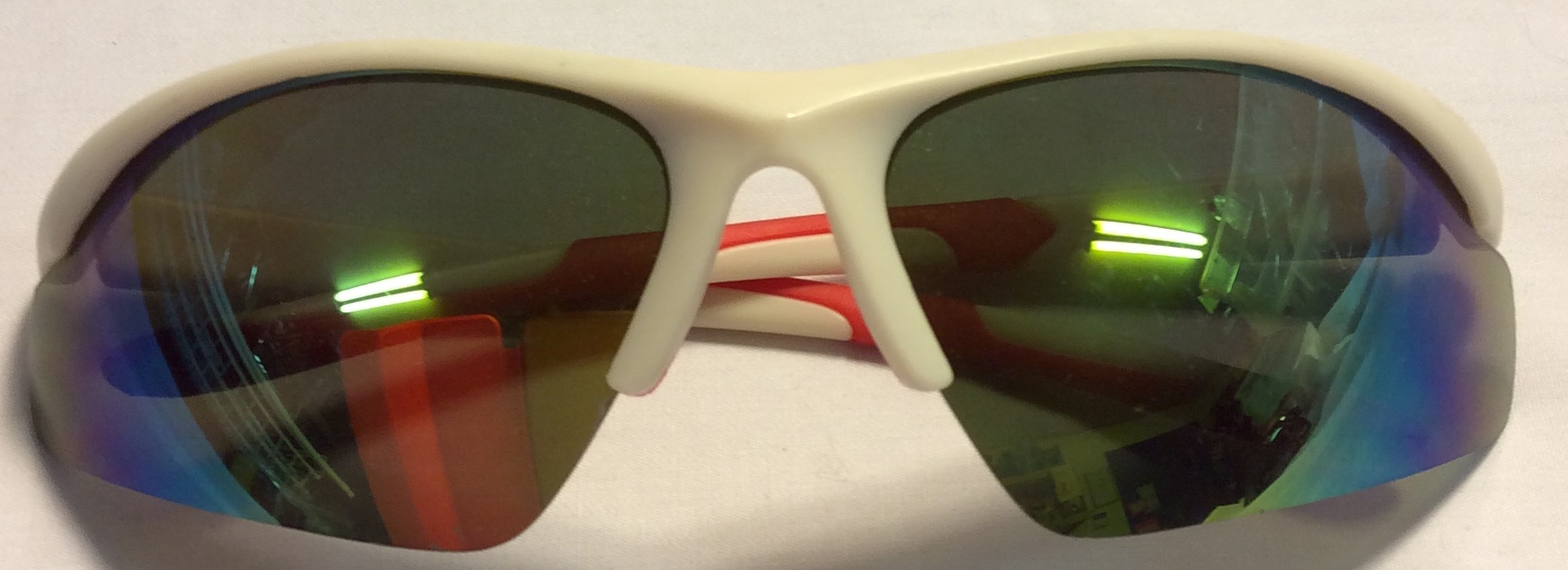 White plastic frames, red rubber