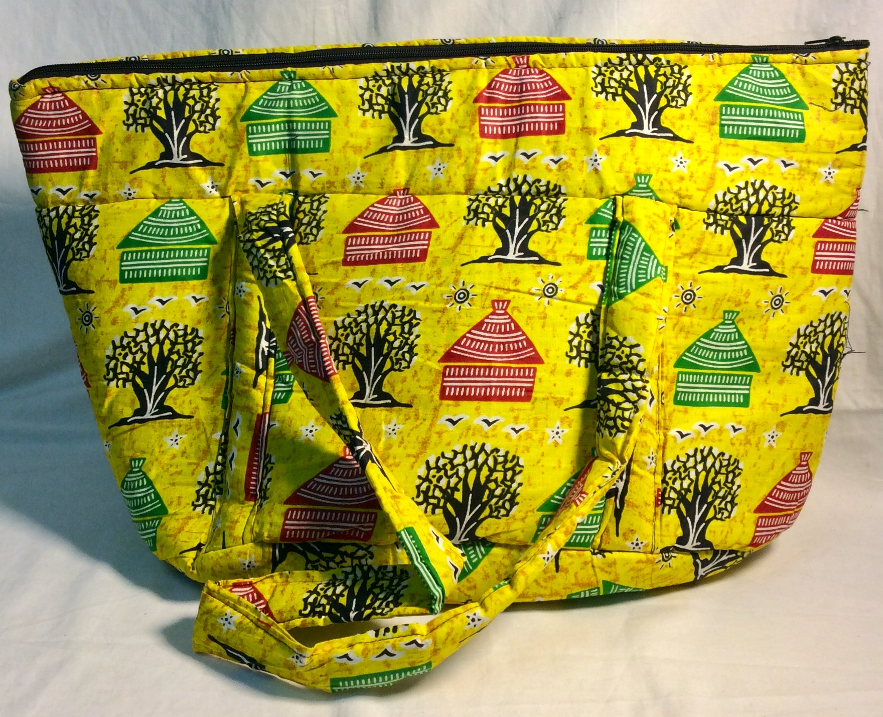 Yellow African print fabric bag