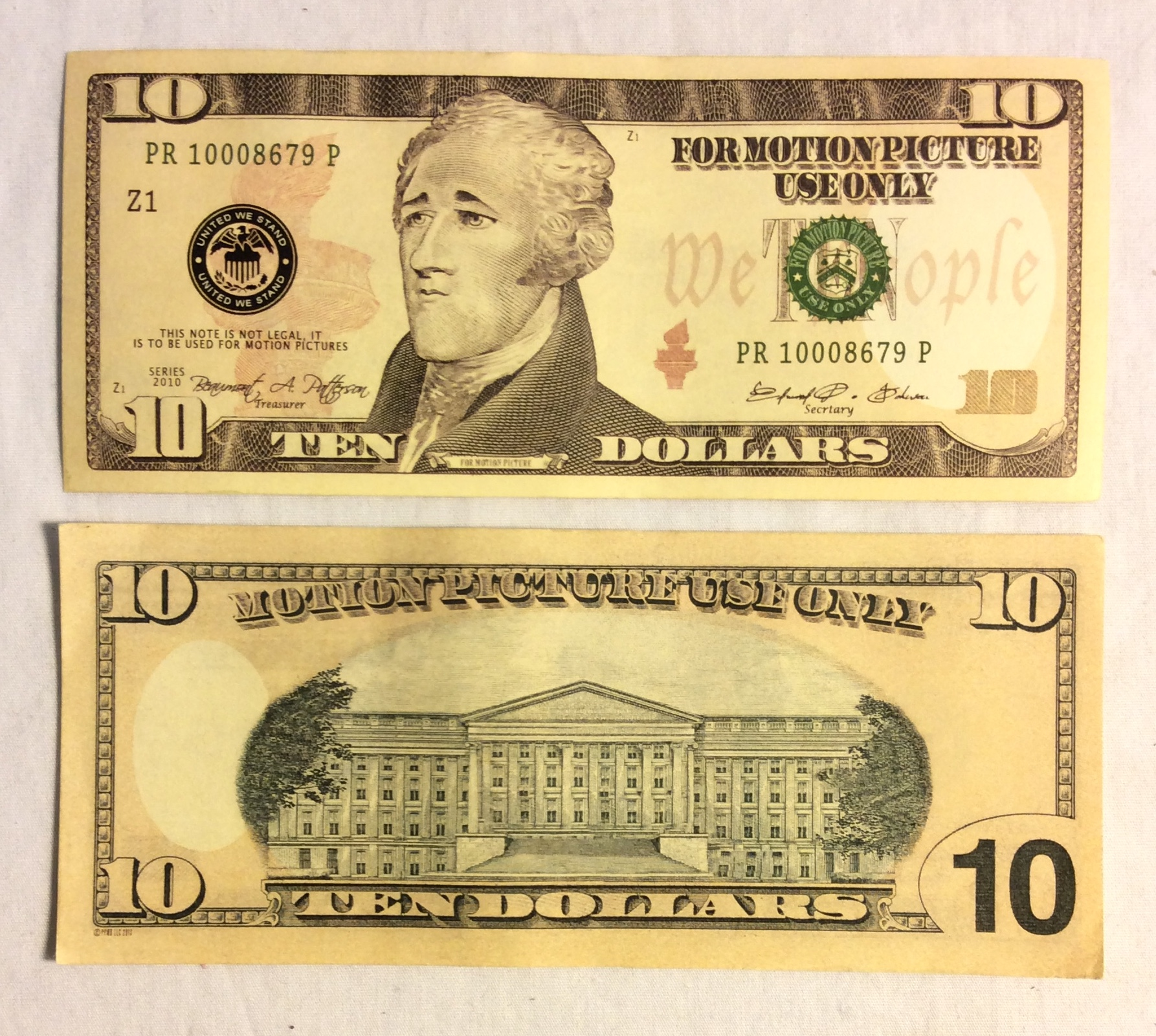 US $10 Bill, double-sided