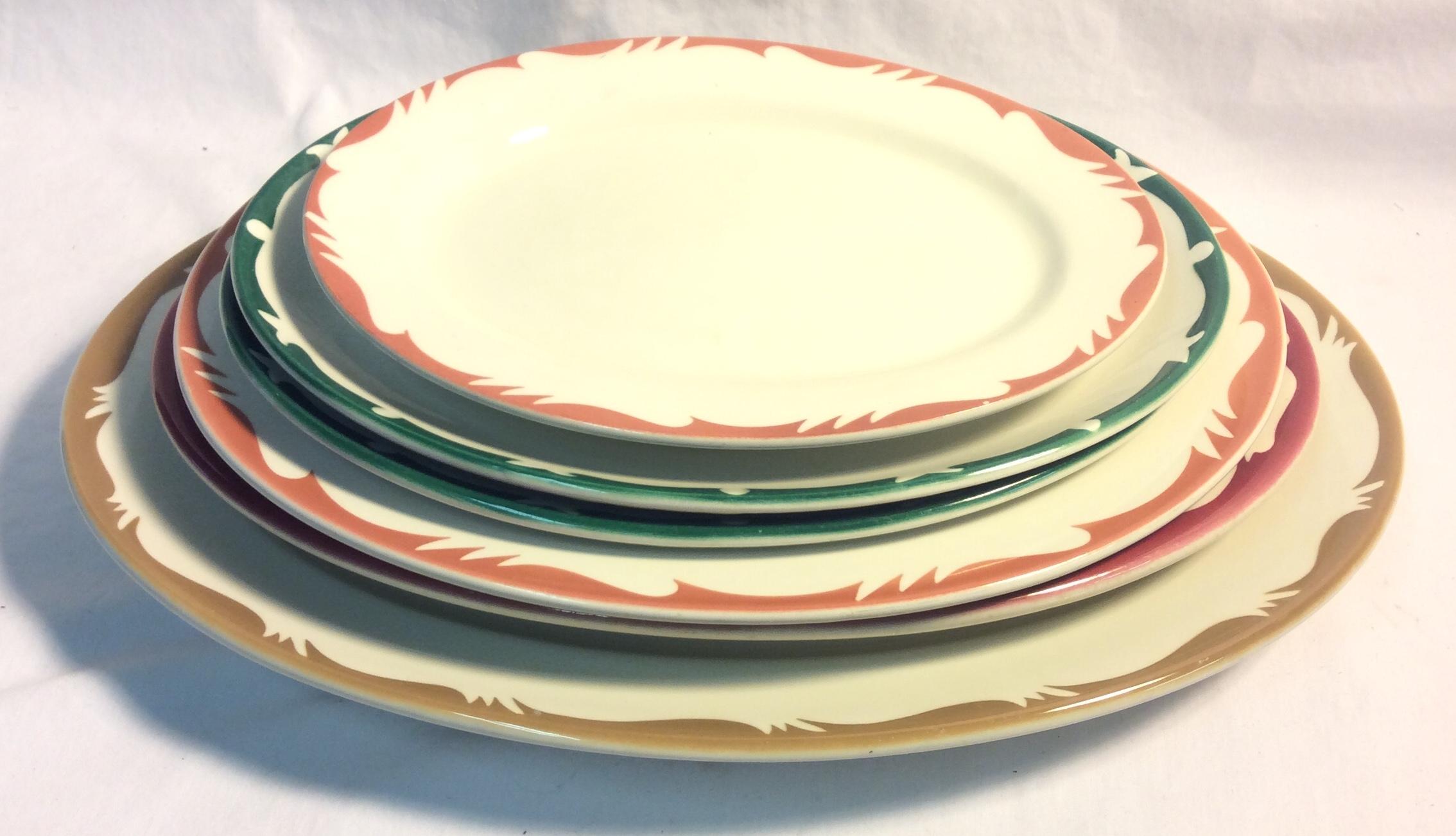 Vintage Diner Oval plates - x6