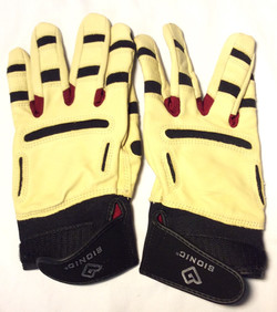 Bionic Cream leather gloves with red