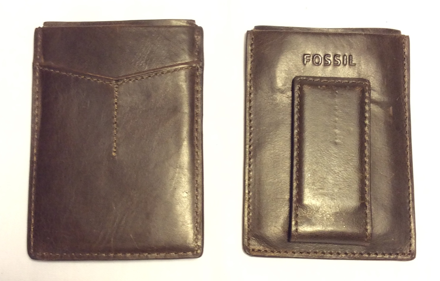 Fossil Dark brown leather card