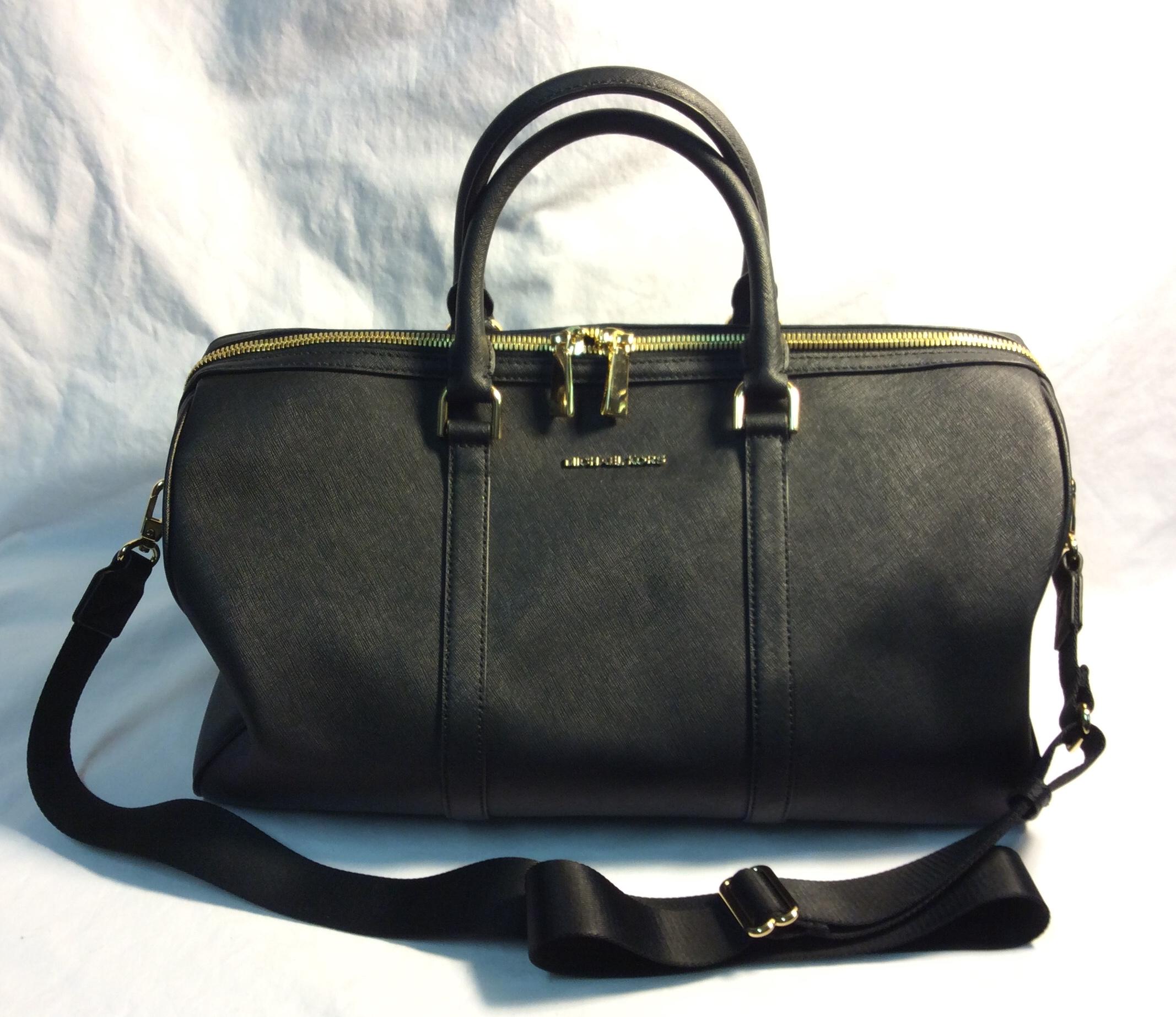 Michael Kors black leather weekender bag x1