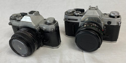 Greeked 35mm film camera's, real and rubber