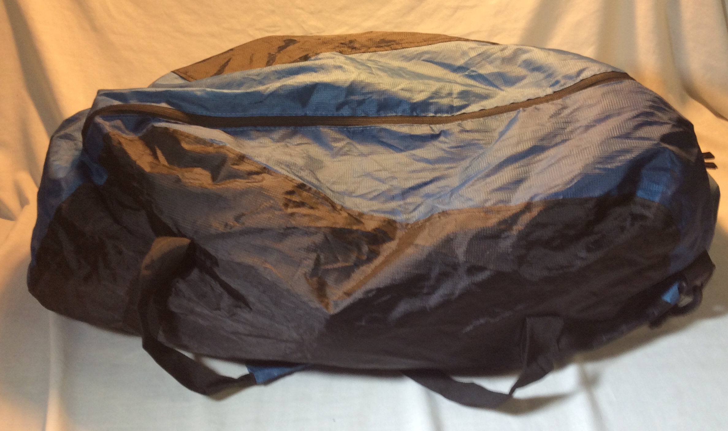 Light Blue and Black Duffle Bag