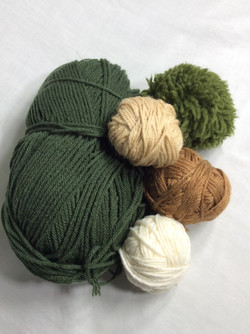 Green and brown wool