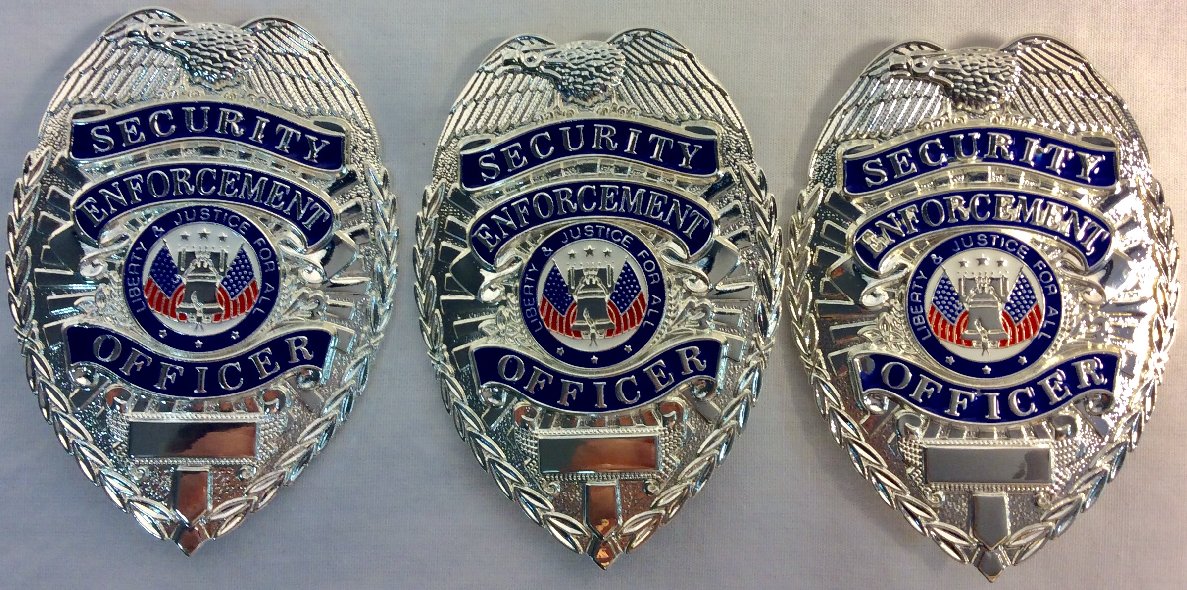 """Silver metal chest badges with eagle and US flag """"Security Enforcement Officer"""""""
