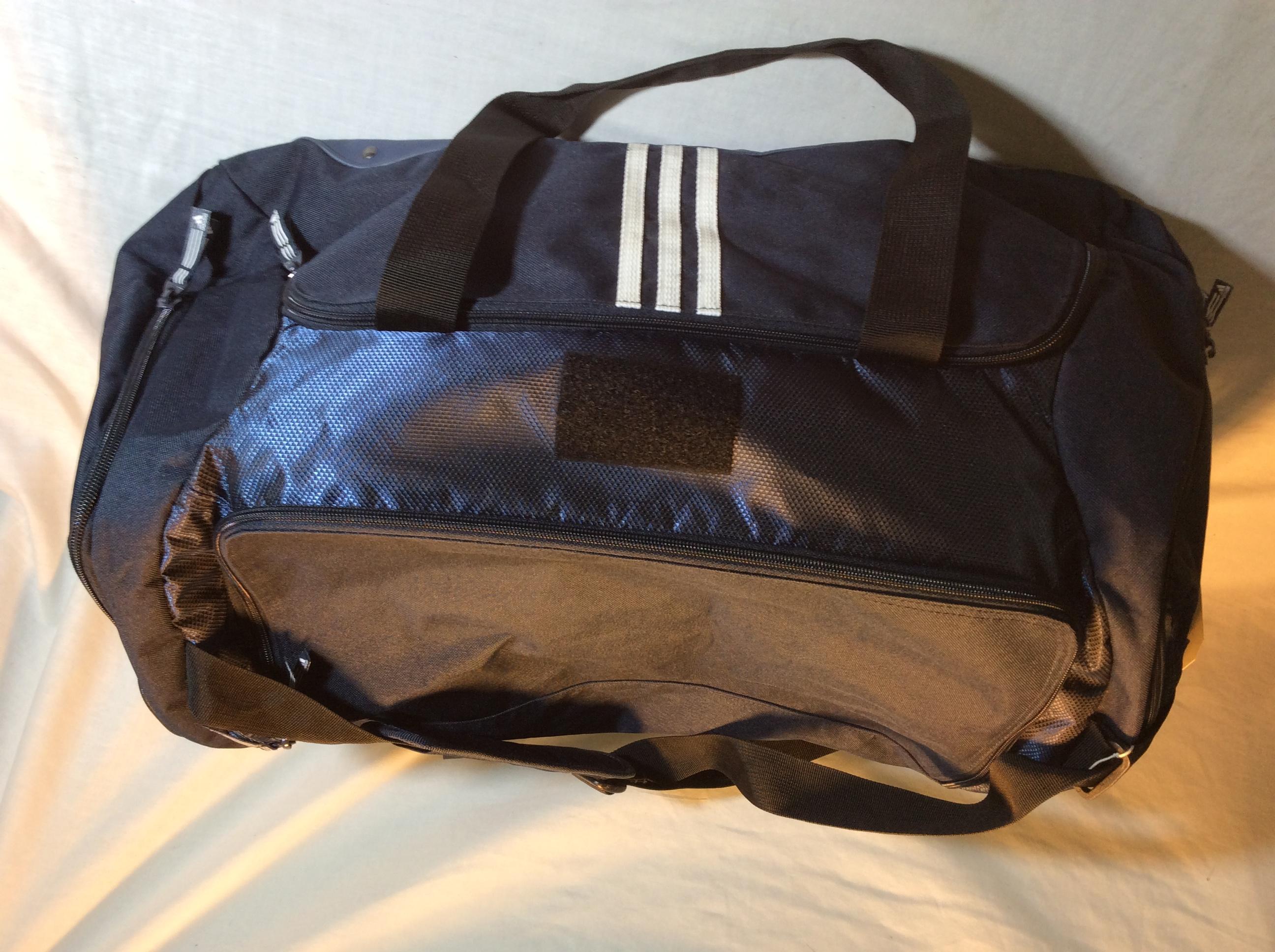 Blue Adidas duffle bag