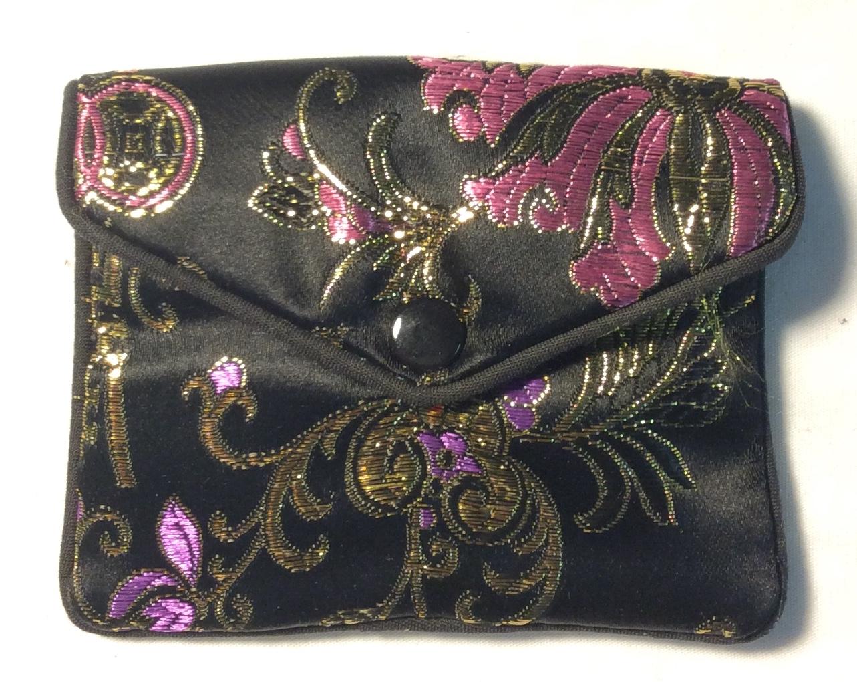 Small black satin coin purse